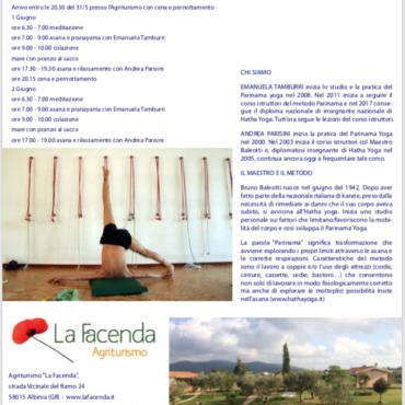Parinama yoga in Maremma Toscana 31 Maggio – 1-2 Giugno 2019